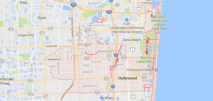 Hollywood, FL Map
